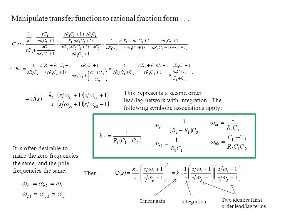 Manipulate transfer function to rational fraction form . . .
