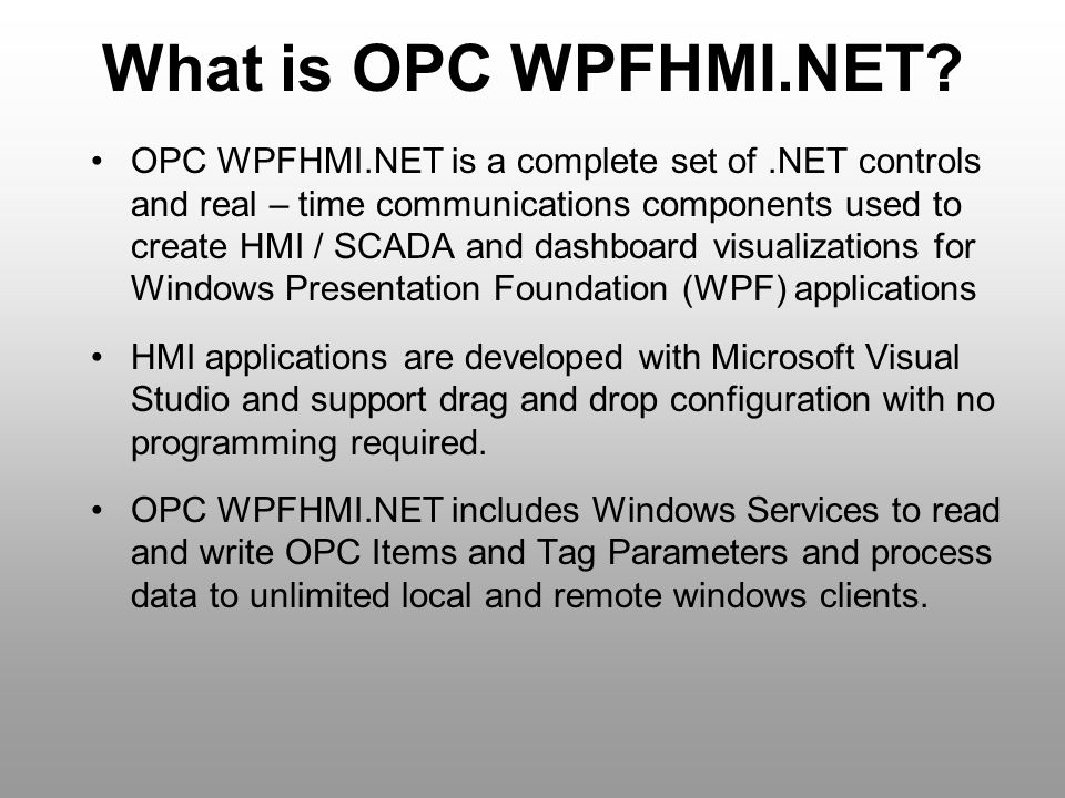 What is OPC WPFHMI.NET