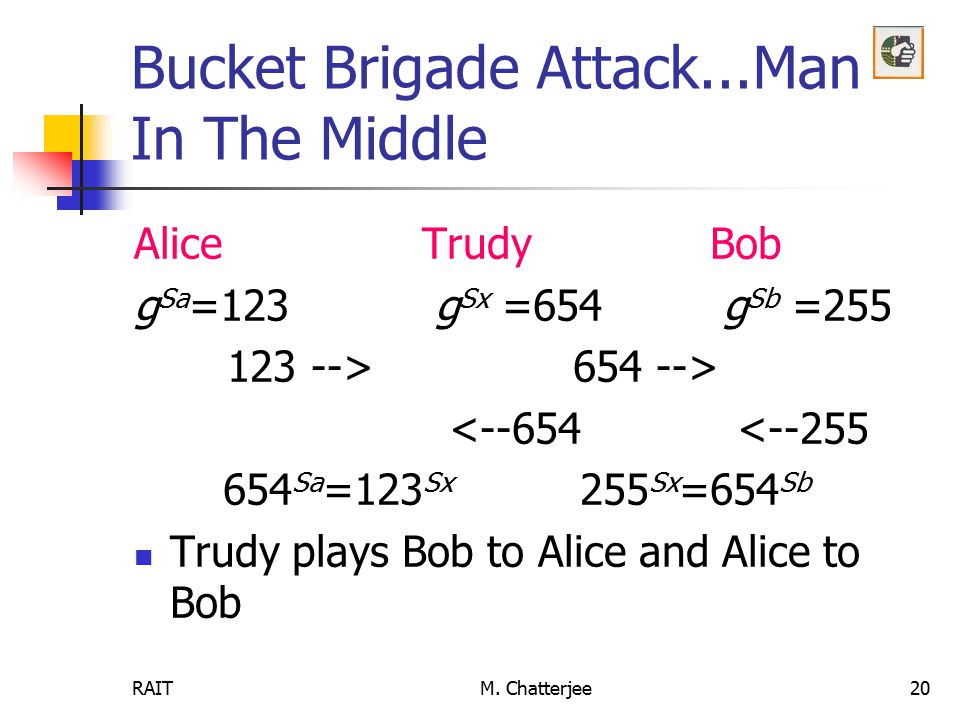 Bucket Brigade Attack...Man In The Middle