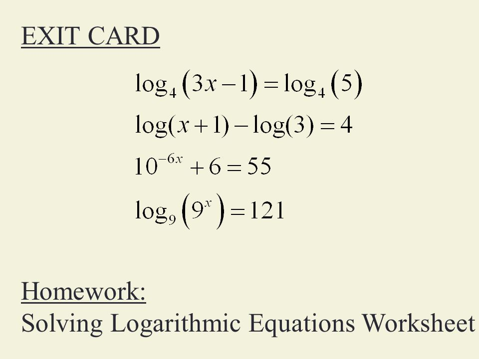 Solve Exponential Equations ppt video online download – Logarithmic Equations Worksheet
