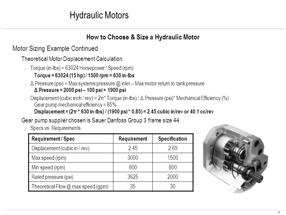 How to Choose & Size a Hydraulic Motor