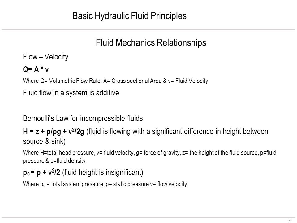 Basic Hydraulic Fluid Principles