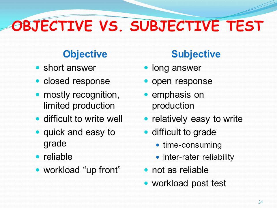 objective vs subjective essay Career success: subjective versus objective in total 94 students  (objective  career success) or the career satisfaction (subjective career success) this  means.