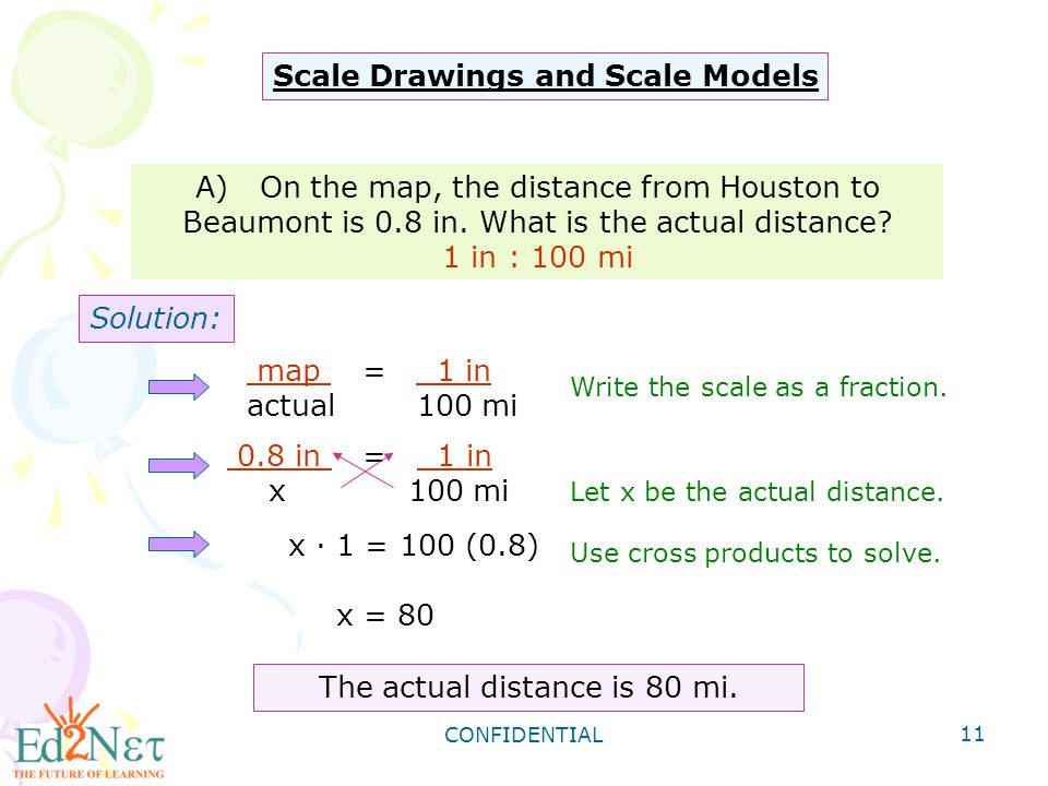 Grade 8 algebra1 review of proportion and percent ppt download the actual distance is 80 mi fandeluxe Image collections