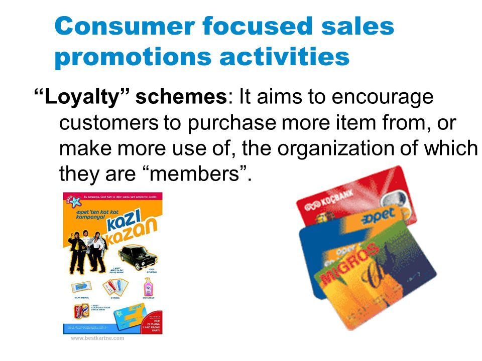 Consumer focused sales promotions activities
