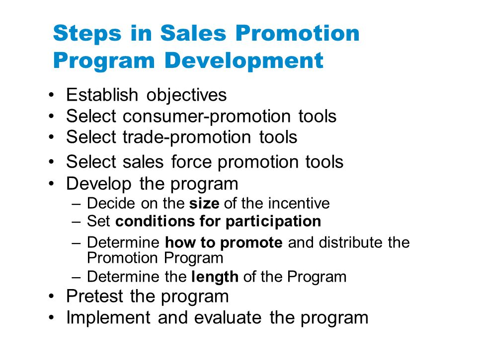 Steps in Sales Promotion Program Development