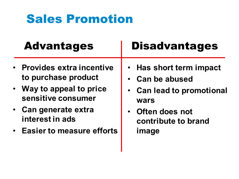 Sales Promotion Advantages Disadvantages