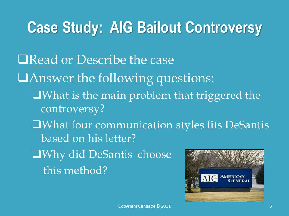 case study aig American international group, inc, also known as aig, is an american  multinational finance  owing to events which allowed aig to proceed in  another related case (see below), aig withdrew the maiden lane case without  prejudice on may.