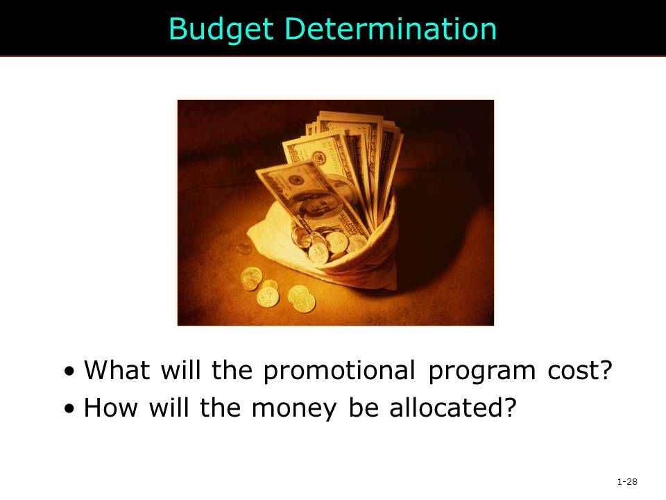 Budget Determination What will the promotional program cost