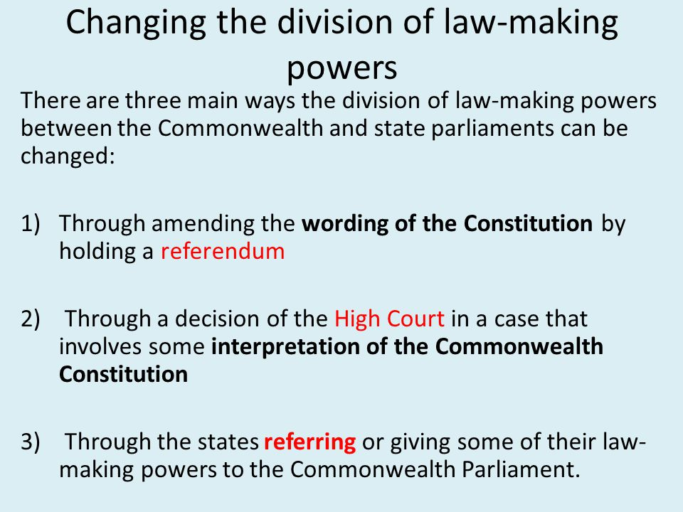 """division law making powers australia In australia, public power is divided by what is known as the """"separation of  powers"""" between the three branches of government: the legislature (the law- making."""
