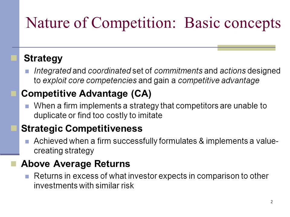 strategic management and strategic competitiveness question Chapter 5 – summary review questions 1 explain why the concept of competitive advantage is central to the study of strategic management the concept of competitive advantage is central to the study of strategic management, since a company (or an organization) must follow an aligned strategy to outperform their rivals in the industry.