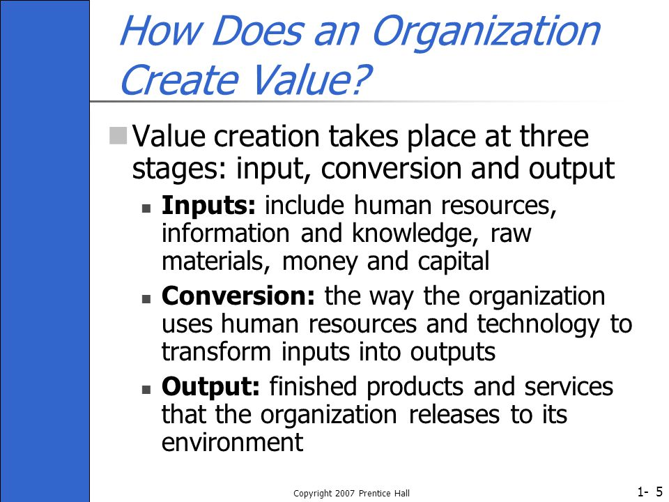 How Does an Organization Create Value