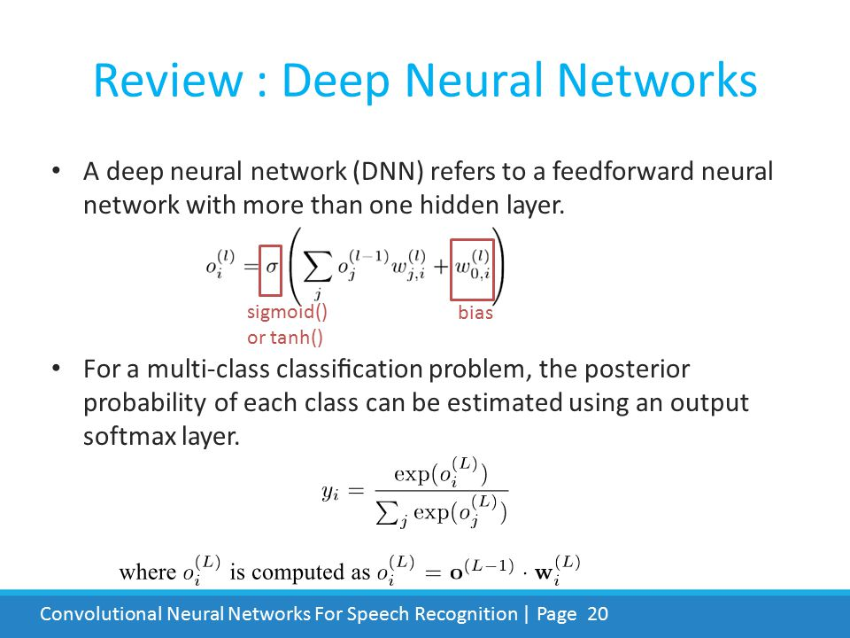 Review : Deep Neural Networks