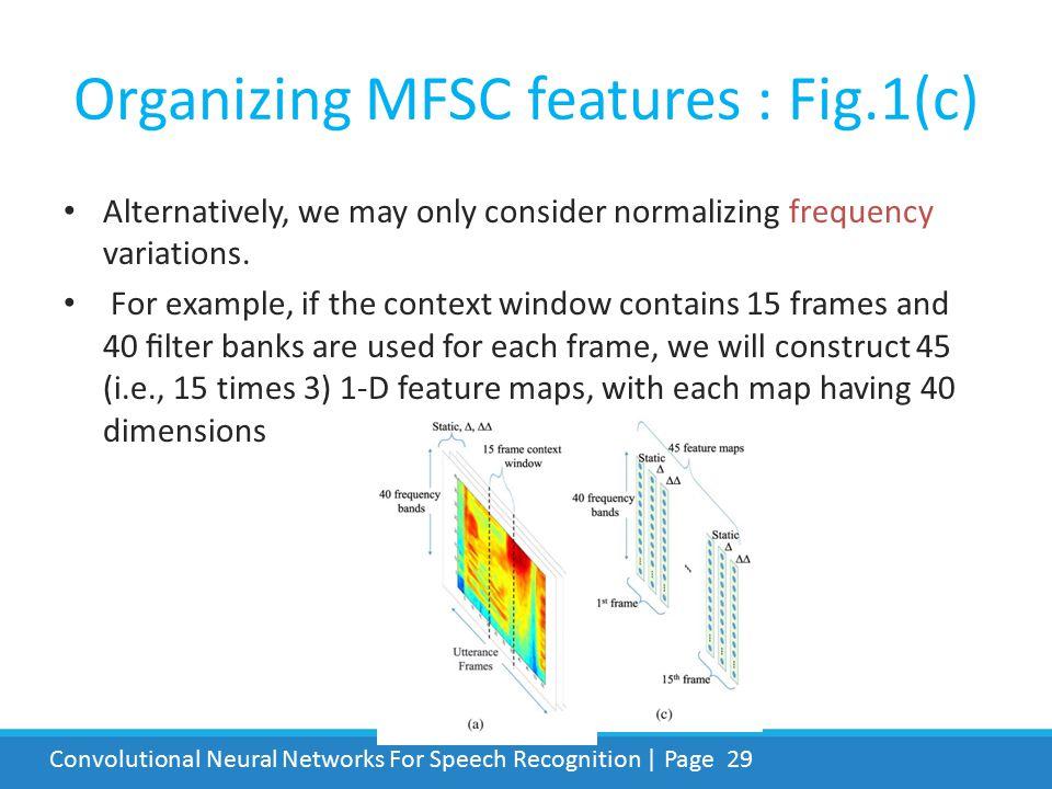 Organizing MFSC features : Fig.1(c)