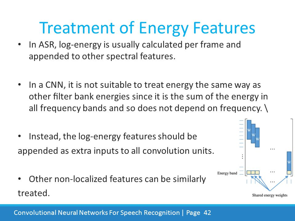 Treatment of Energy Features