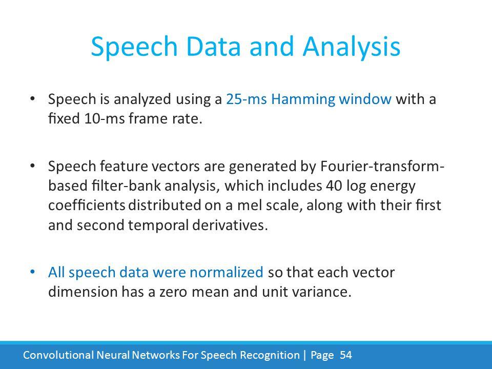 Speech Data and Analysis