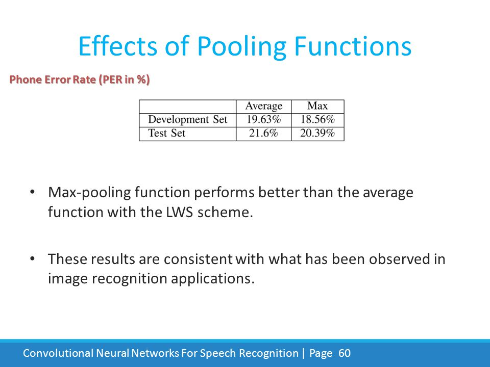 Effects of Pooling Functions
