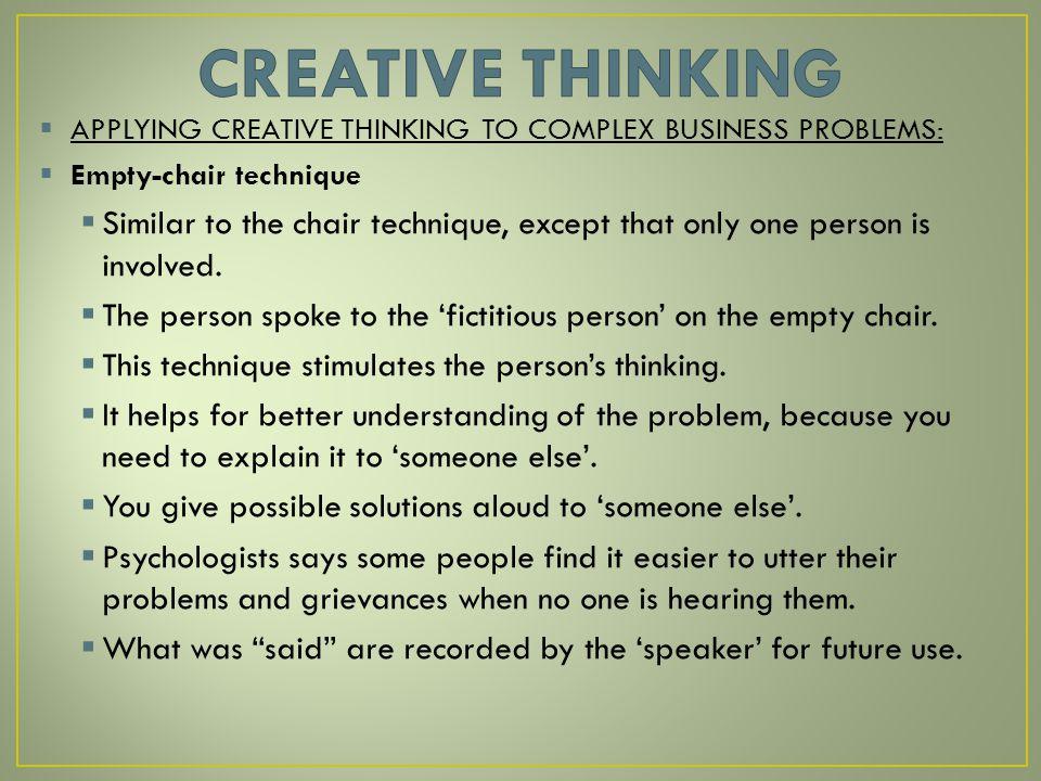 applying creativity to problems
