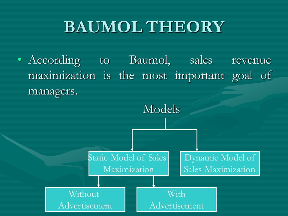 baumol model of sales revenue maximization Yarrow's generalization of baumol's constrained sales maximization model: not part of reading • yarrow removes the minimum profit constraint specification by reinterpreting it • there is a continuous trade-off between managerial utility and the probability of avoiding shareholder intervention and the associated loss of management.