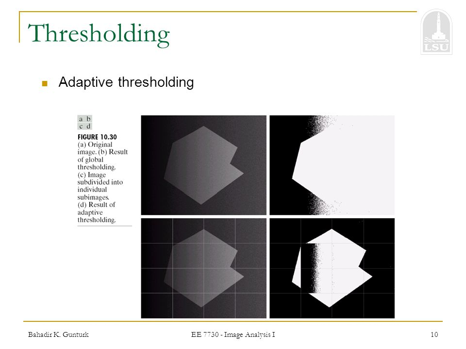 Thresholding Adaptive thresholding Bahadir K. Gunturk