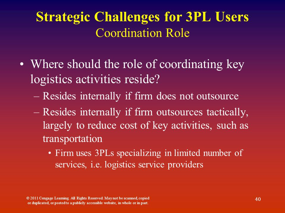3pl providers and users A third-party logistics provider is (abbreviated 3pl, or sometimes tpl) is a firm  that provides service to its customers of outsourced (or third.