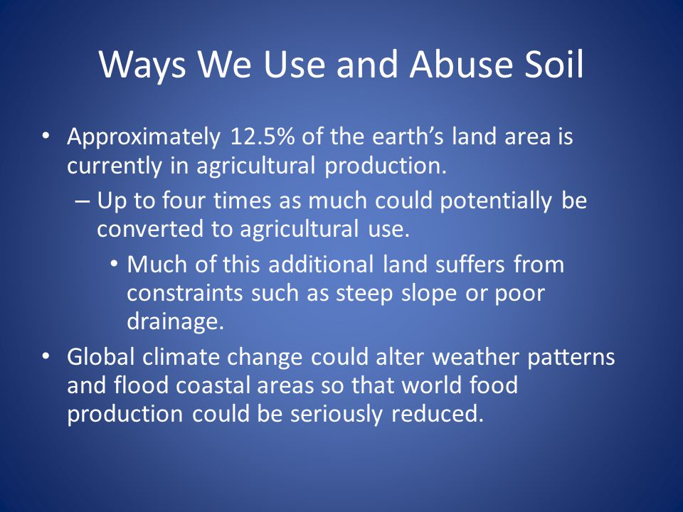 Ways We Use and Abuse Soil
