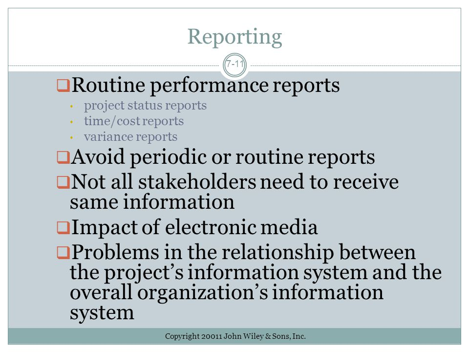 Reporting Routine performance reports