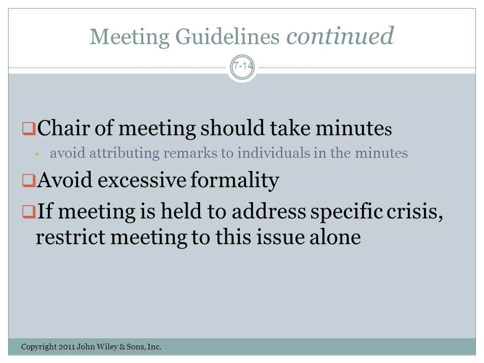 Meeting Guidelines continued