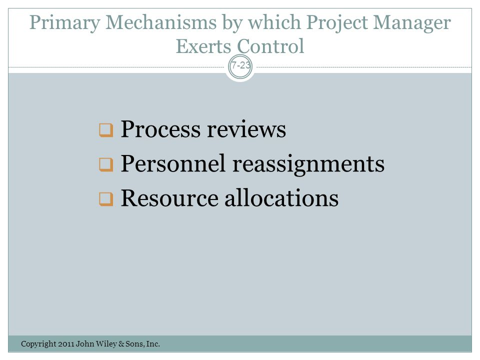 Primary Mechanisms by which Project Manager Exerts Control