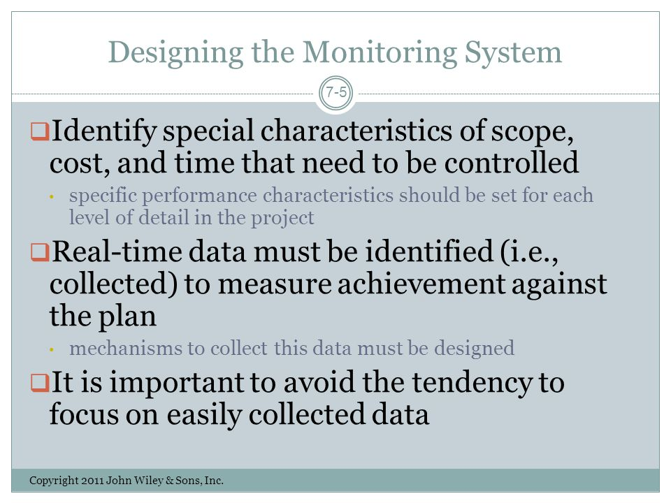 Designing the Monitoring System