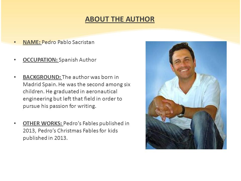 ABOUT THE AUTHOR NAME: Pedro Pablo Sacristan