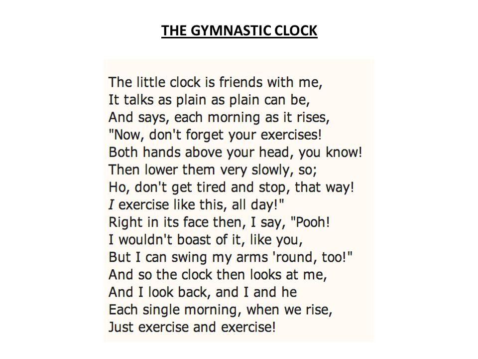 THE GYMNASTIC CLOCK