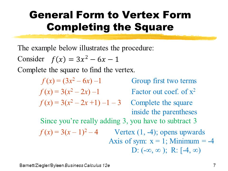 Chapter 2 functions and graphs ppt download general form to vertex form completing the square ccuart Choice Image