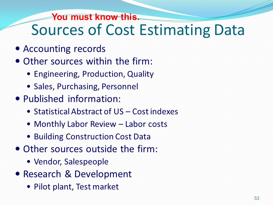 Sources of cost data
