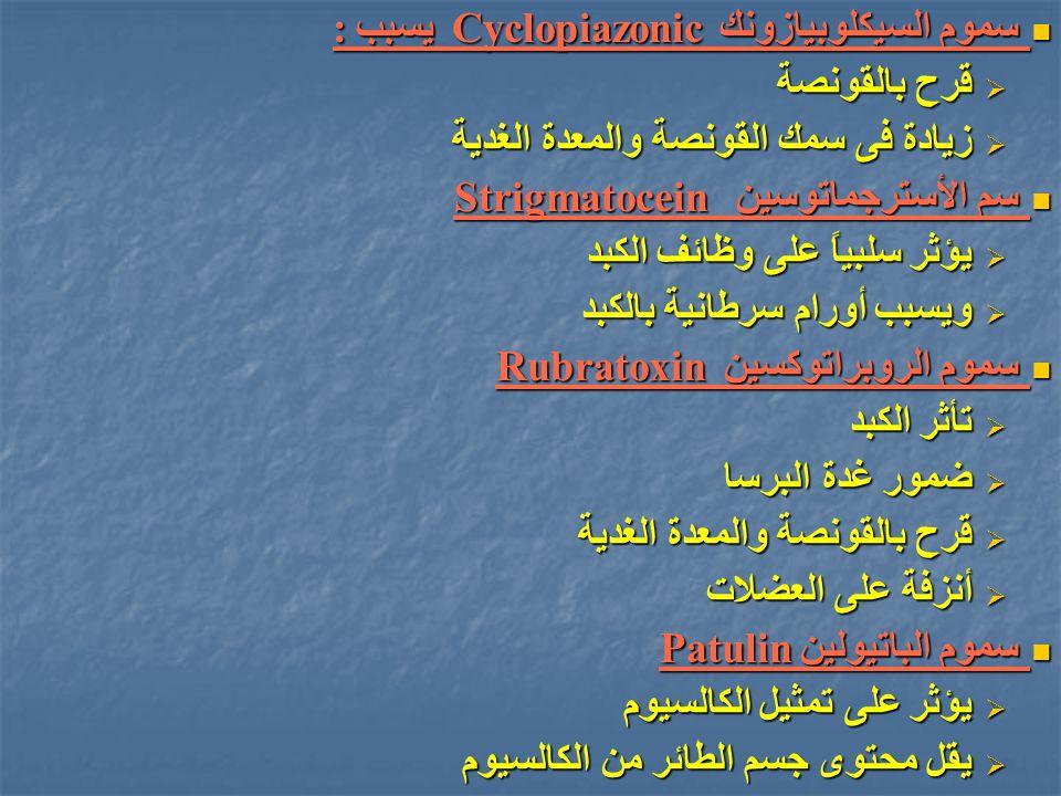 سموم السيكلوبيازونك Cyclopiazonic يسبب :