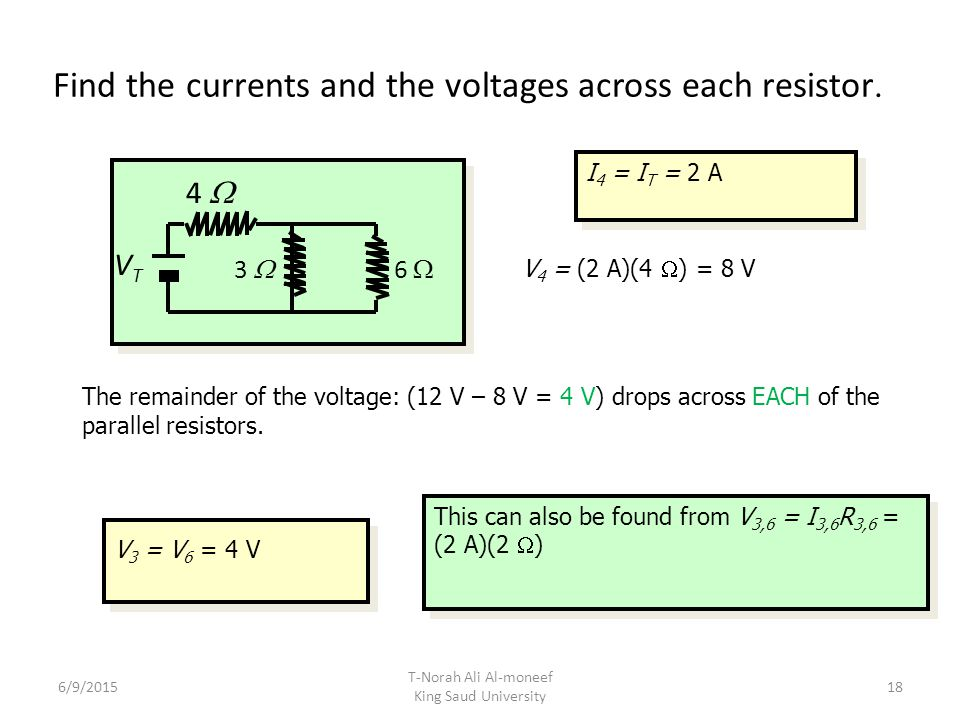 Find the currents and the voltages across each resistor.