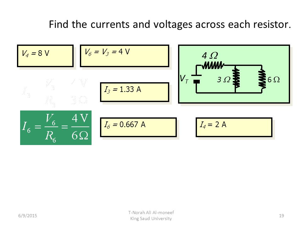Find the currents and voltages across each resistor.