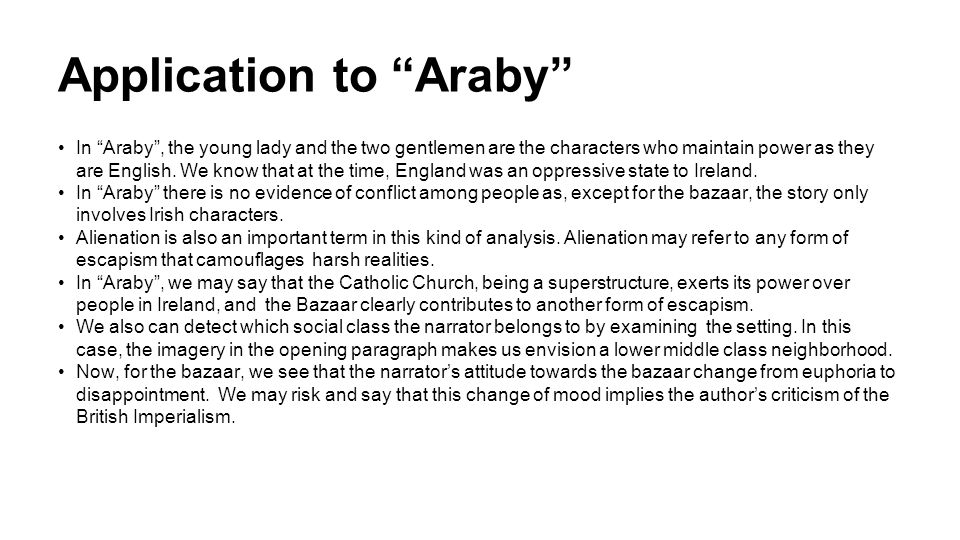 Araby setting analysis