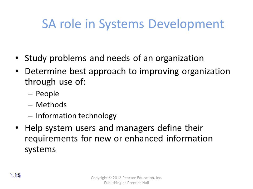SA role in Systems Development