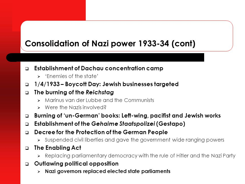 """nazi consolidation of power in 1933 """"hitler's consolidation of power was the result of a legal the policy of exclusion- repression in the nazi state, 1933–1939 nikolaus wachsmann advertisements."""