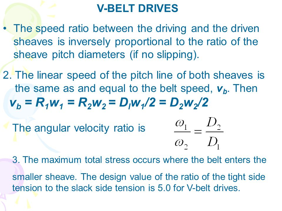 2. The linear speed of the pitch line of both sheaves is