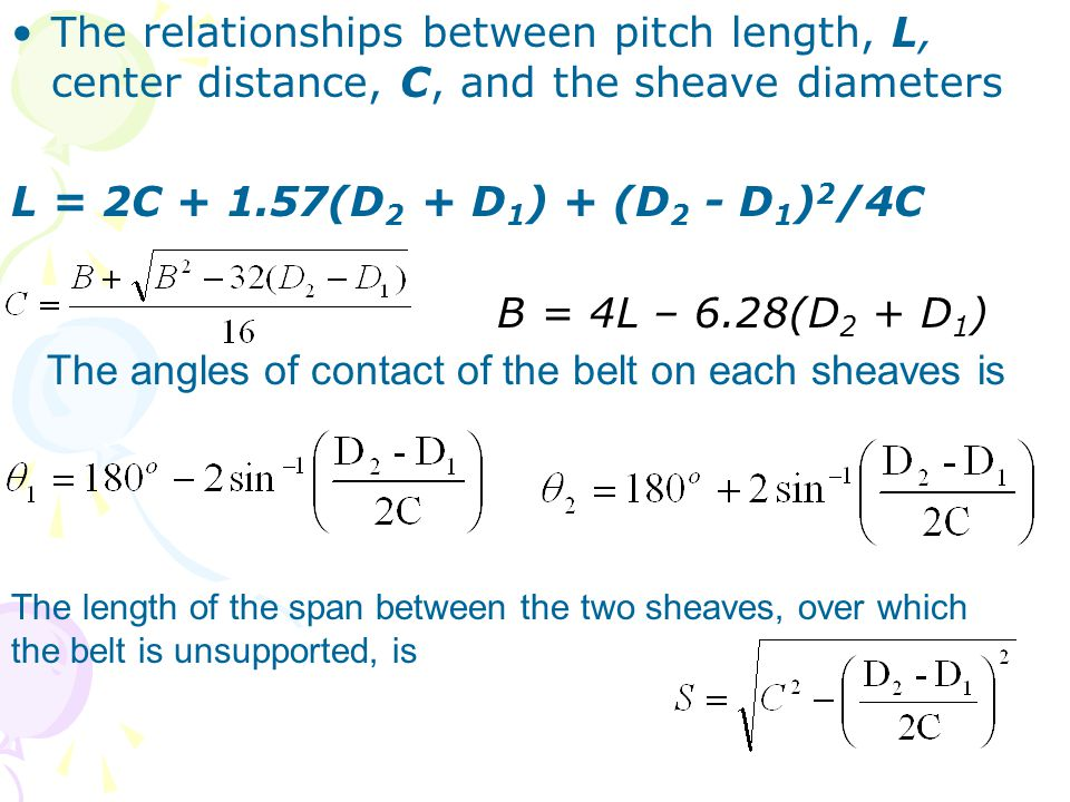 The angles of contact of the belt on each sheaves is