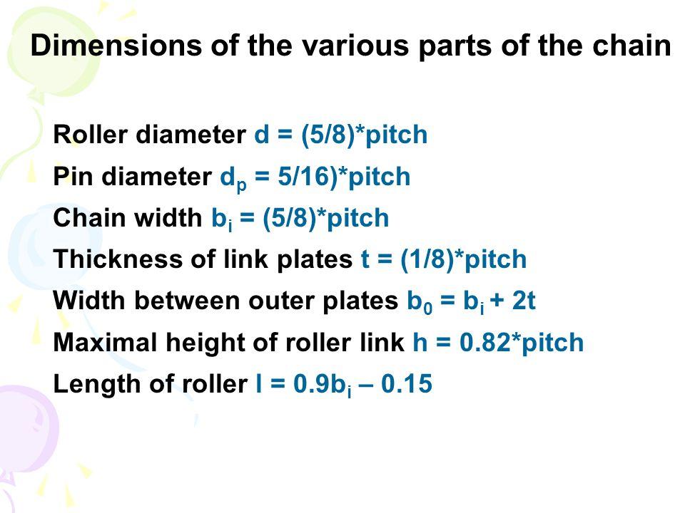 Dimensions of the various parts of the chain