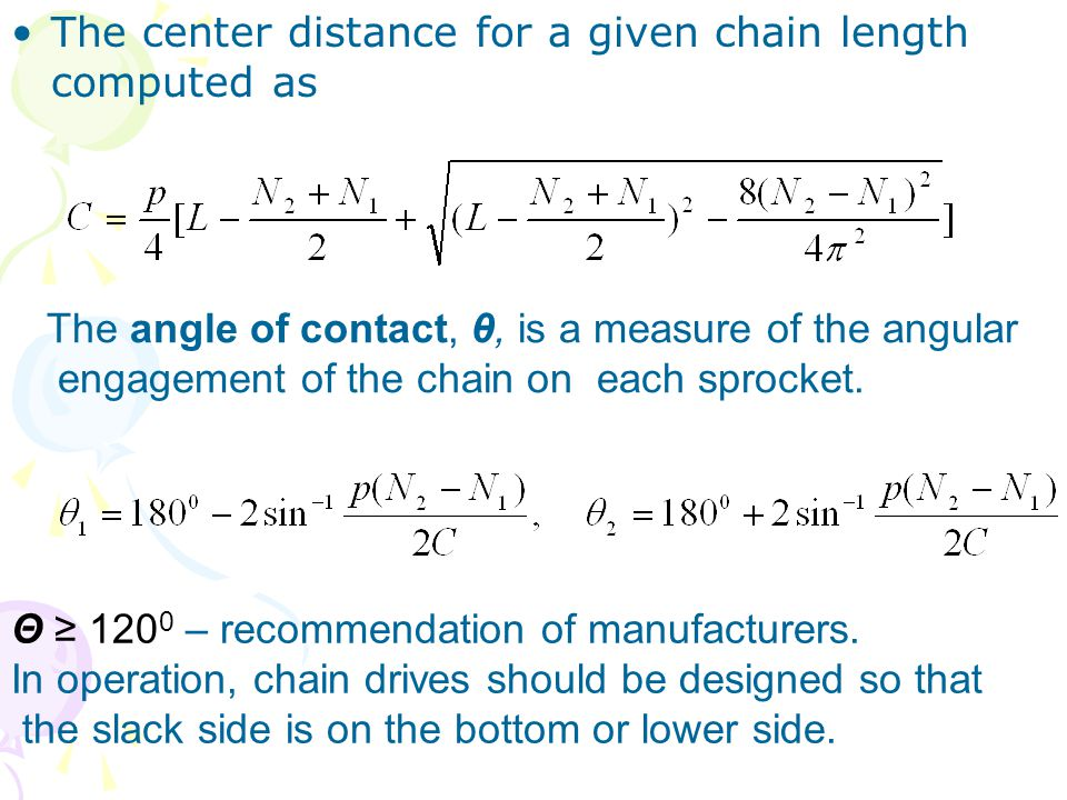The center distance for a given chain length computed as