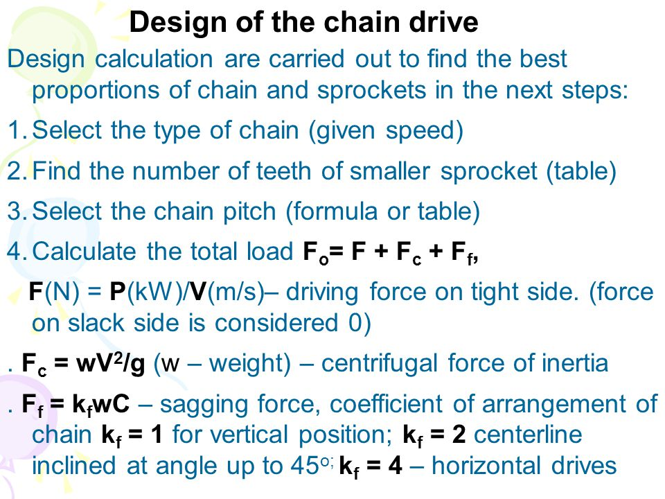 Design of the chain drive