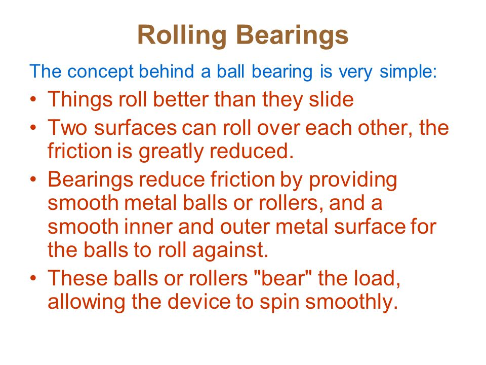 Rolling Bearings Things roll better than they slide
