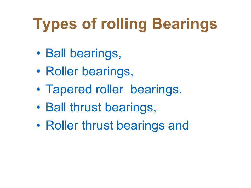 Types of rolling Bearings