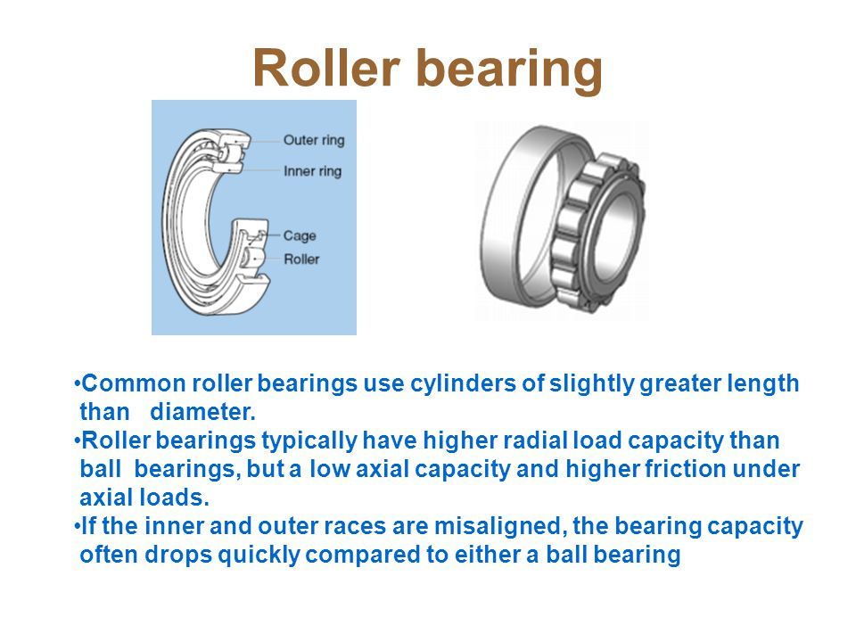 Roller bearing Common roller bearings use cylinders of slightly greater length. than diameter.
