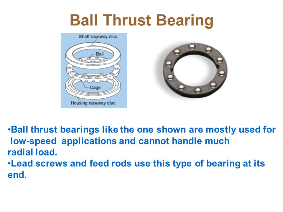 Ball Thrust Bearing Ball thrust bearings like the one shown are mostly used for. low-speed applications and cannot handle much.