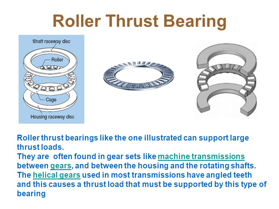 Roller Thrust Bearing Roller thrust bearings like the one illustrated can support large thrust loads.